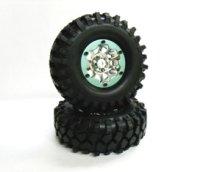 1.9クローラータイヤセット108mm(ビードロックホイール付/クロームシルバー/2コ)