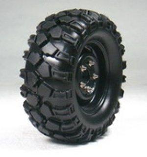 画像1: 1.9クローラータイヤセット90mm (鉄チンホイール付/ブラック/2コ)