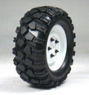 画像1: 1.9クローラータイヤセット90mm(鉄チンホイール付/ホワイト/2コ)