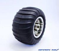 NO-653M/デザートパターンタイヤ・シルバーメッキホイルセット(CW01リヤ用/接着済)
