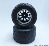 NO-653/レーシングラジアルタイヤ・メッキリムホイルセット(CW01リヤ用/接着済)