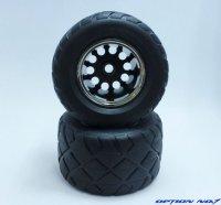 NO-651/レーシングラジアルタイヤ・メッキリムホイルセット(WR02,CW01フロント用/接着済)