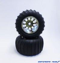 NO-651M/デザートパターンタイヤ・シルバーメッキホイルセット(WR02,CW01フロント用/接着済)