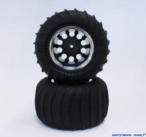 画像1: デザートパターンタイヤ・シルバーメッキリムホイルセット(CW01リヤ用/接着済)